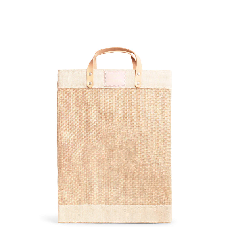 Market Bag in Natural with Pink Round Monogram