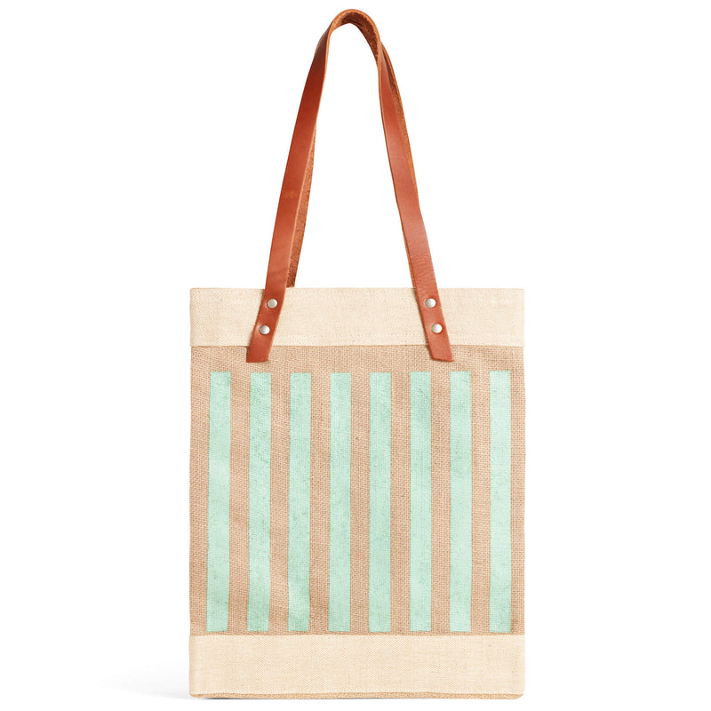 Market Tote in Natural with Green Stripes