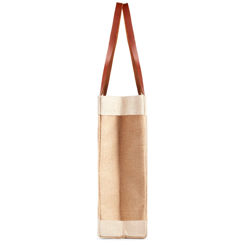 Market Tote in Natural with Blue Stripes and Red Patch