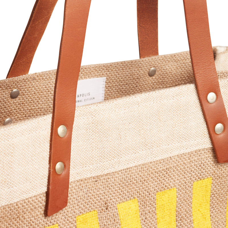 Market Tote in Natural with Yellow Stripes