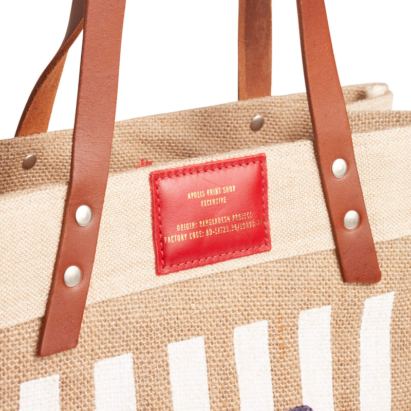 Market Tote in Natural with White Stripes and Red Patch