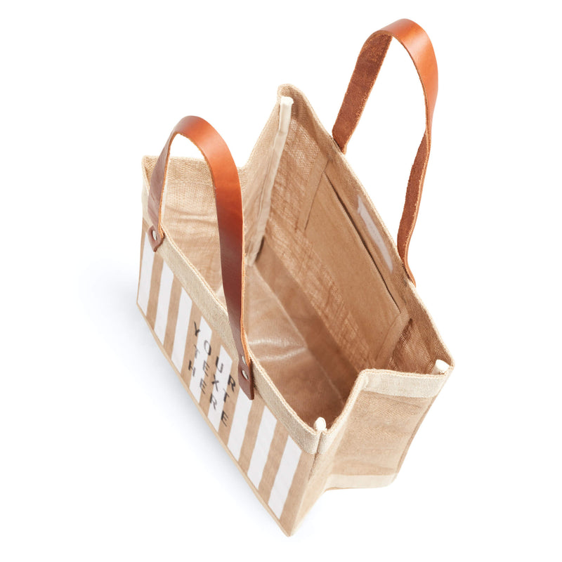 Market Tote in Natural with White Stripes