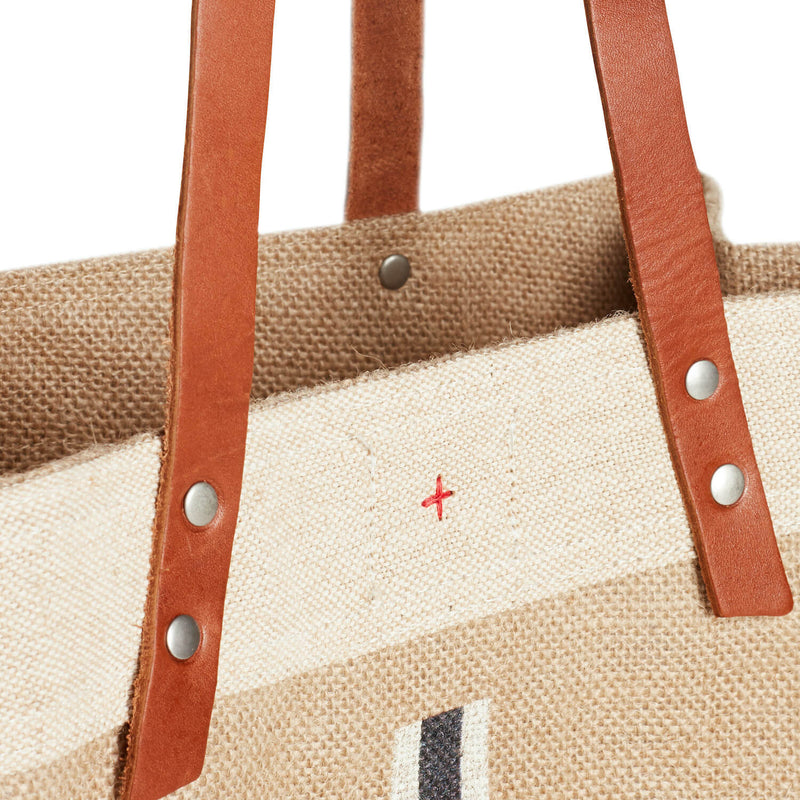 Market Tote in Natural with Black Monogram