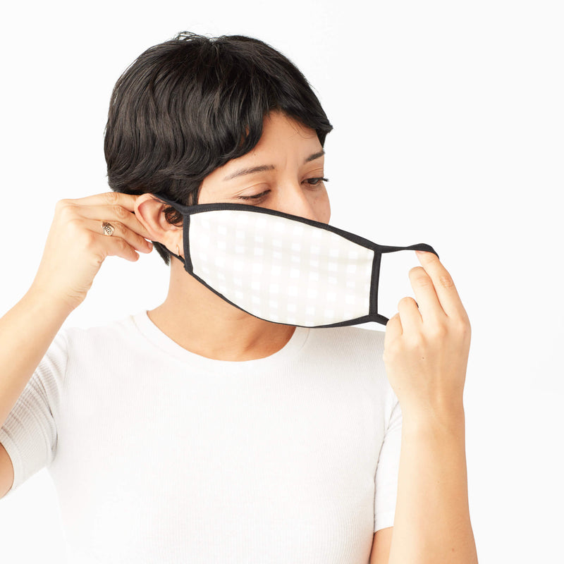 Adult Face Mask in Light Khaki Gingham