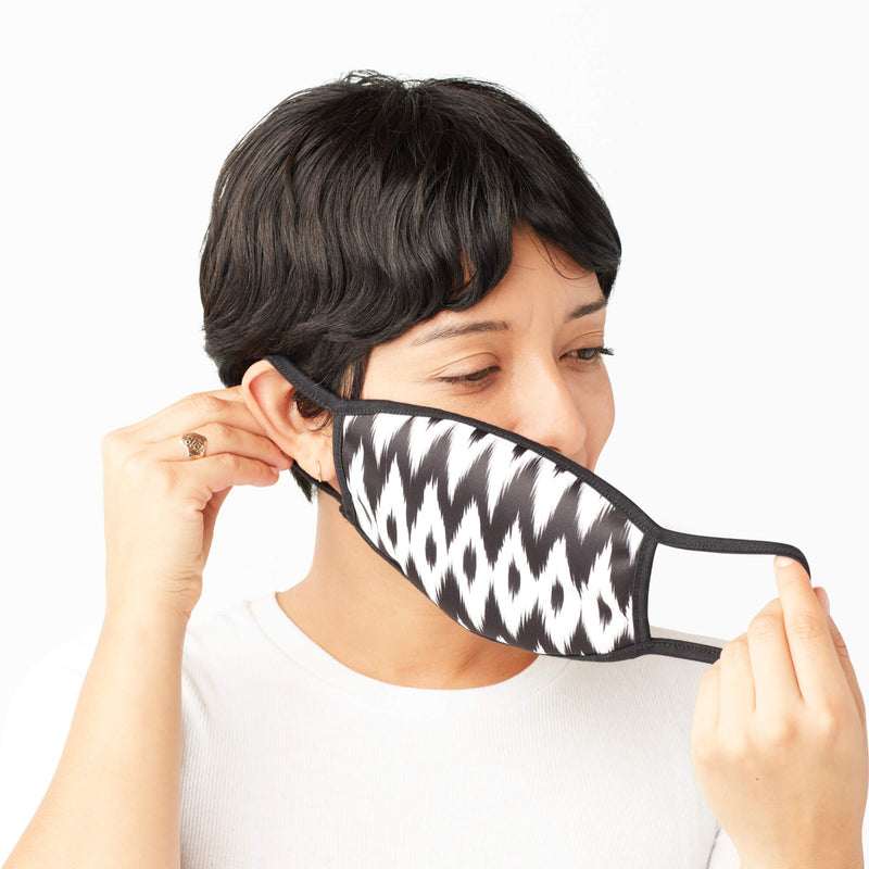 Adult Face Mask in Black & White Ikat