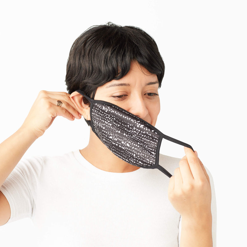 Adult Face Mask in Black & White Batik