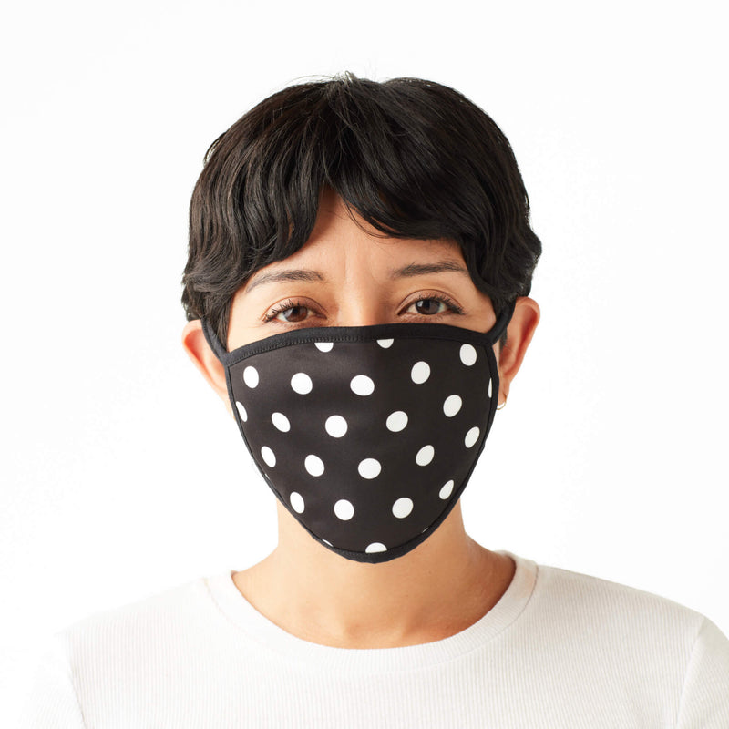 Adult Face Mask in Black & White Polka