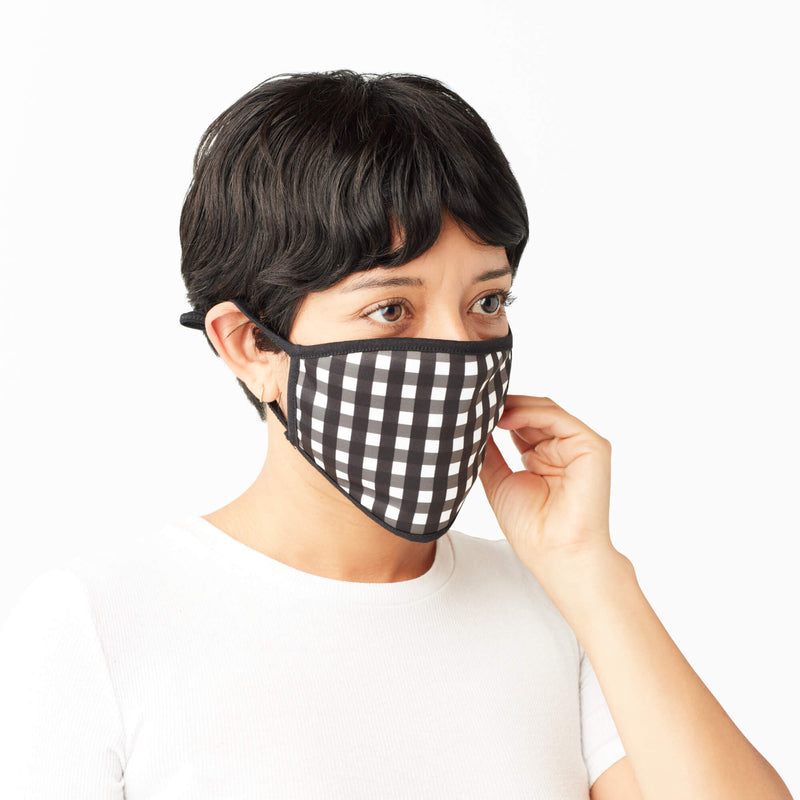 Adult Face Mask in Black & White Gingham