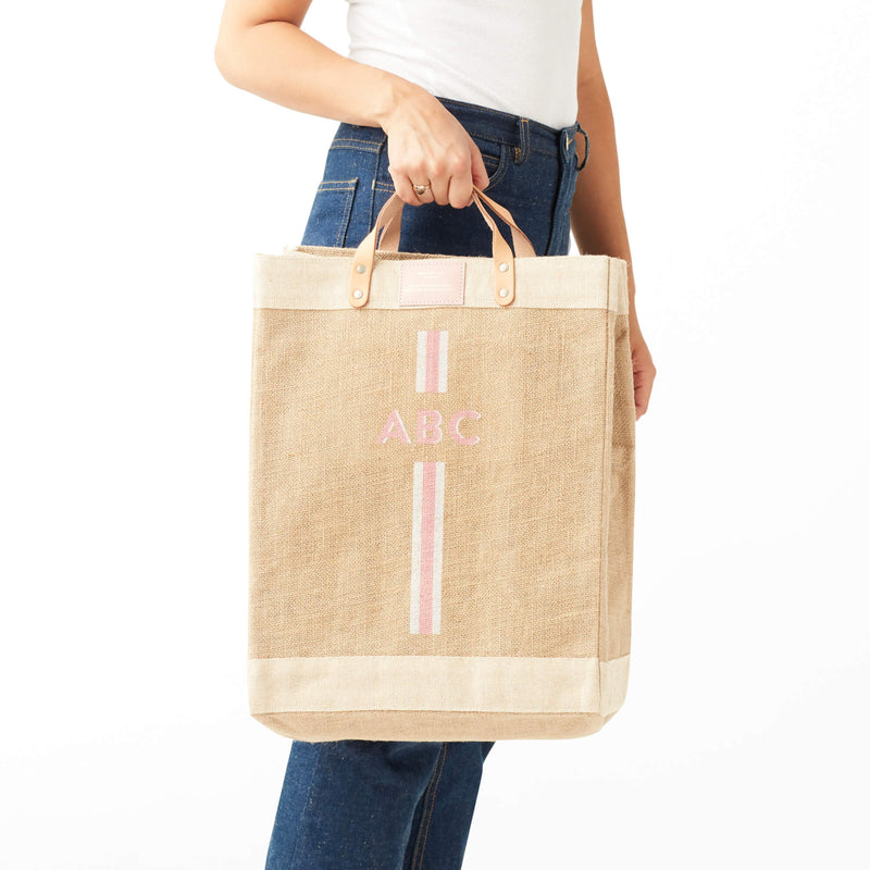 Market Bag in Natural with Pink Monogram