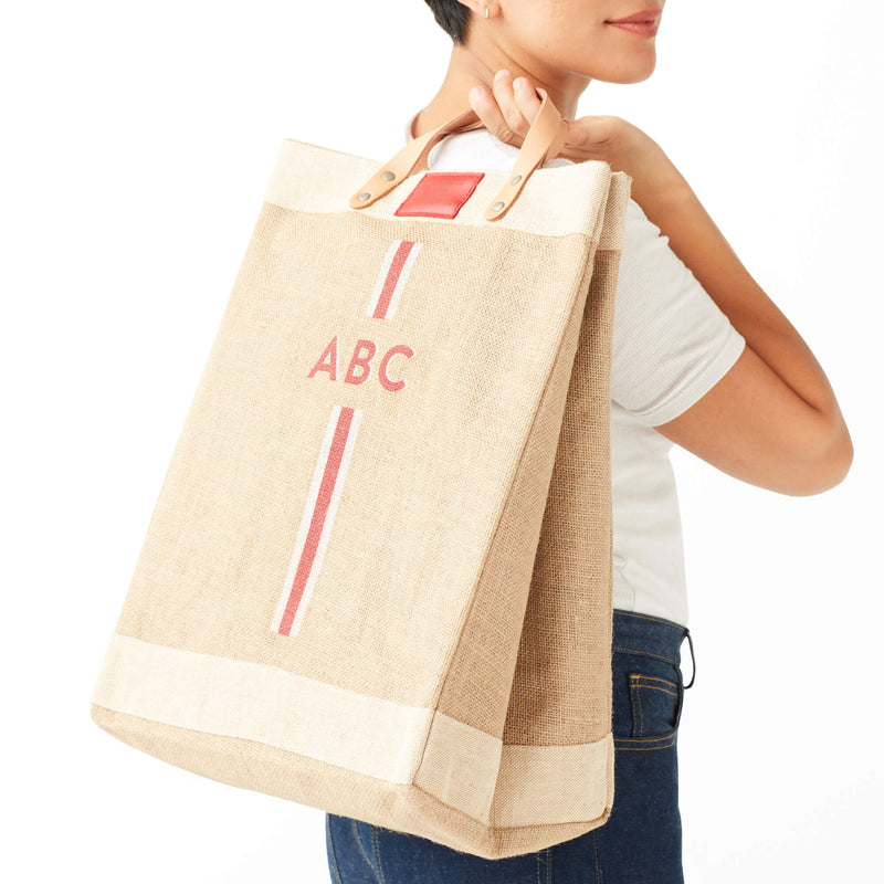 Market Bag in Natural with Red Monogram