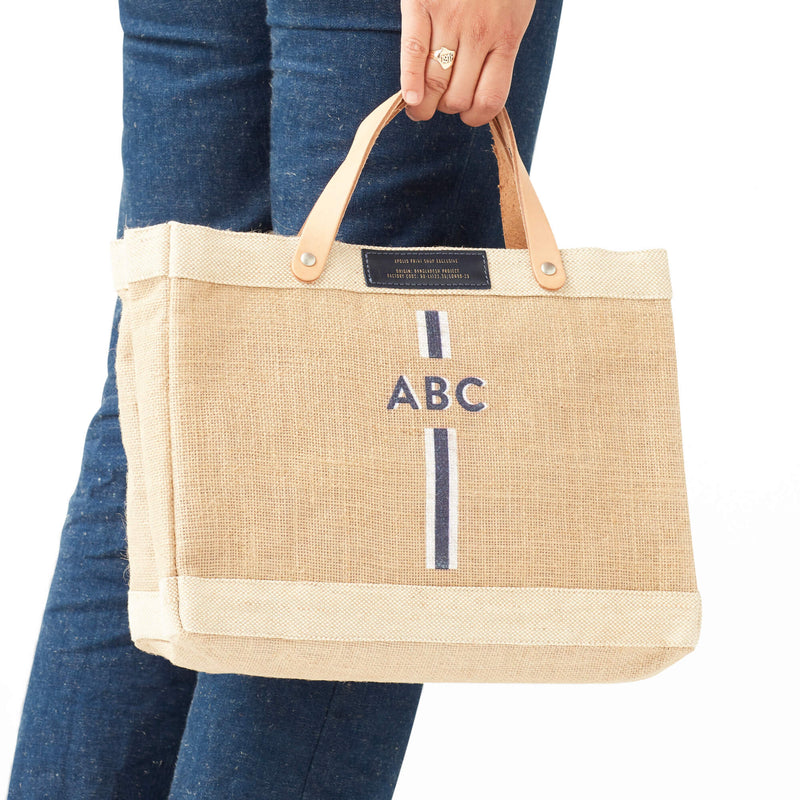 Petite Market Bag in Natural with Blue Monogram