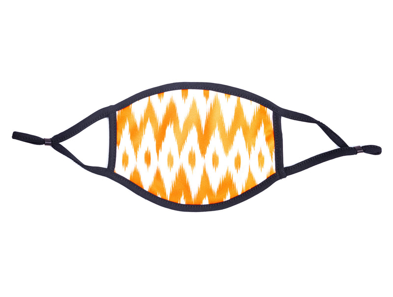 Adult Face Mask in Orange & White Ikat