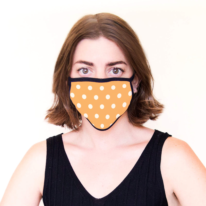 Adult Face Mask in Orange & White Polka