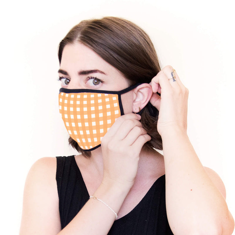 5-Pack of Adult Face Masks in Orange & White with Mini Bag