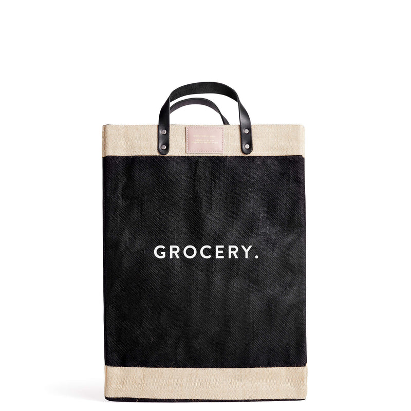 "Market Bag in Black for Abigail Spencer with ""GROCERY."""