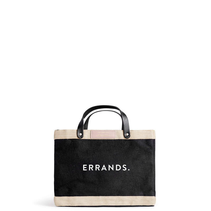 "Petite Market Bag in Black for Abigail Spencer with ""ERRANDS."""