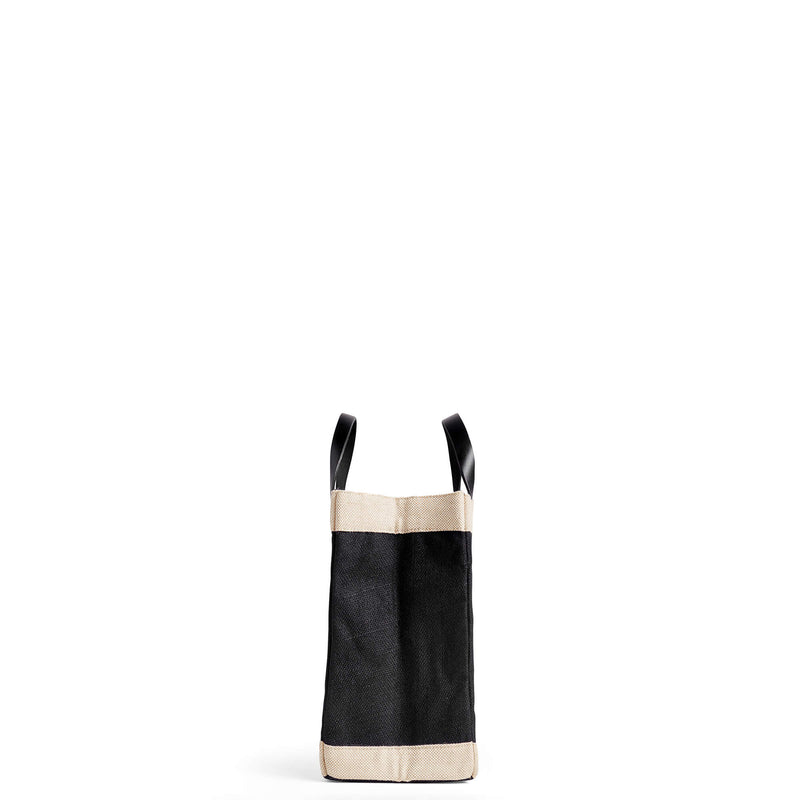 "Petite Market Bag in Black with ""HERS."""