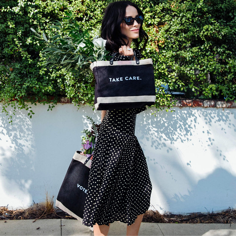 "Petite Market Bag in Black for Abigail Spencer with ""TAKE CARE."""