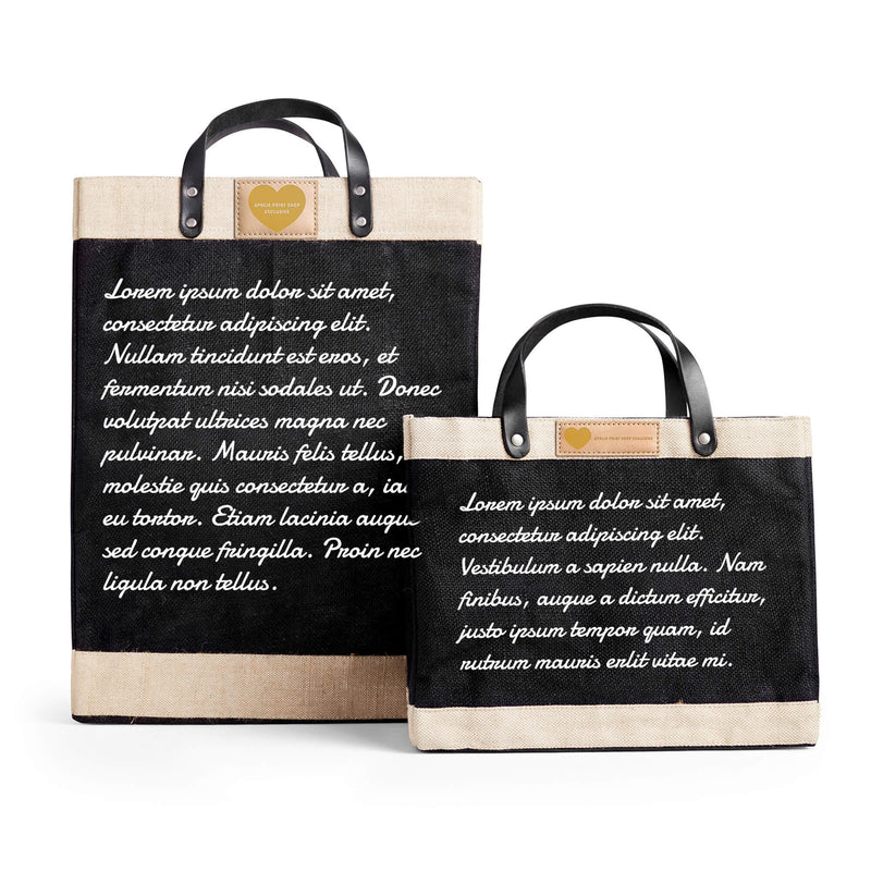 Market Bag in Black with Love Note