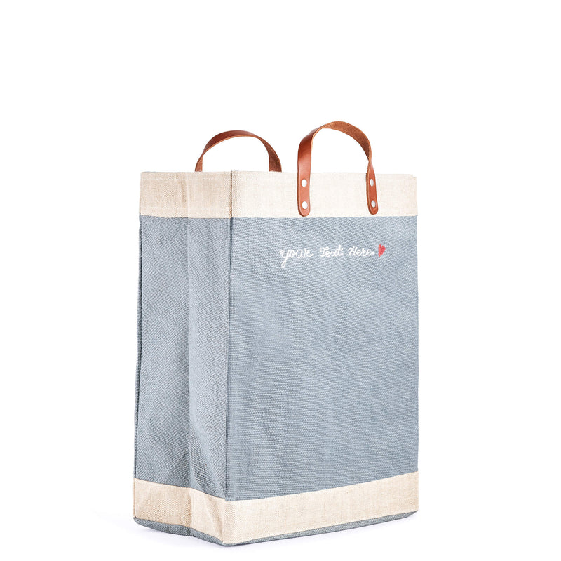 Market Bag in Cool Gray with Embroidery