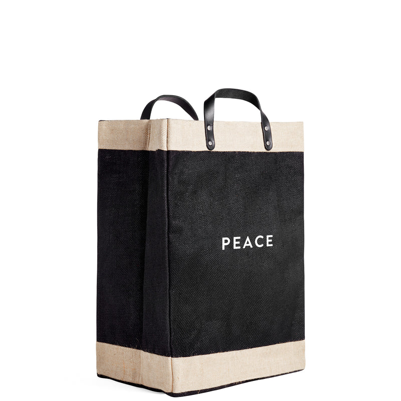 "Market Bag in Black with ""PEACE"""