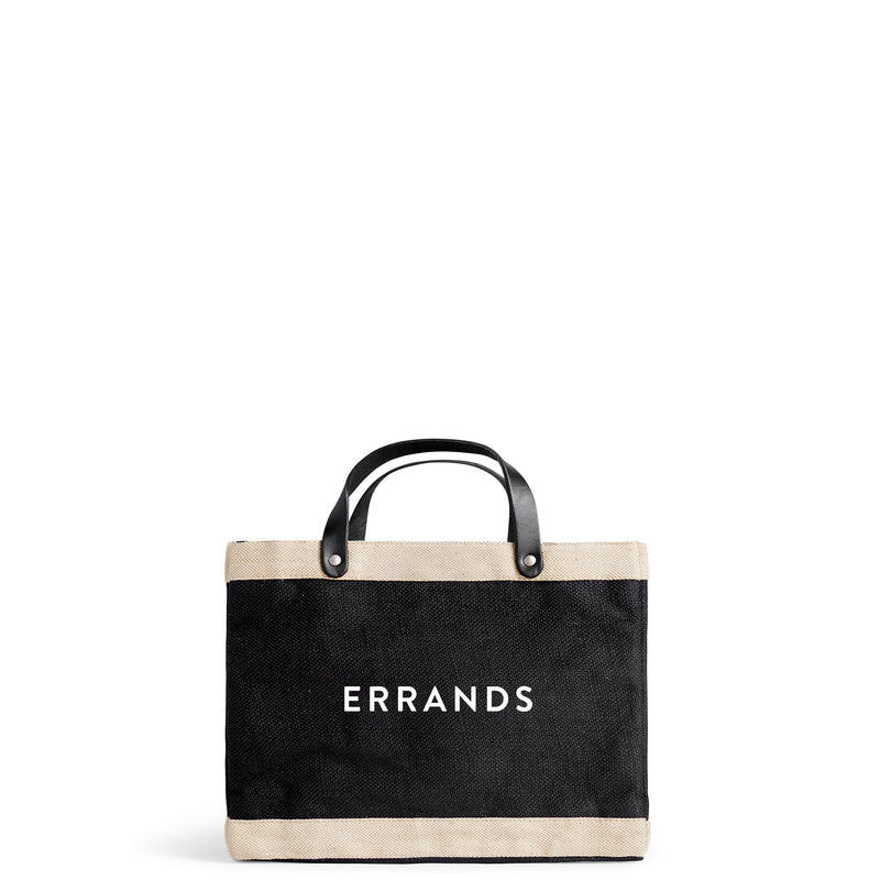 "Petite Market Bag in Black with ""ERRANDS"""