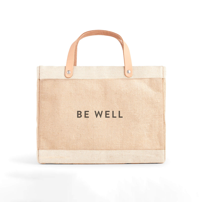 "Petite Market Bag in Natural with ""BE WELL"""
