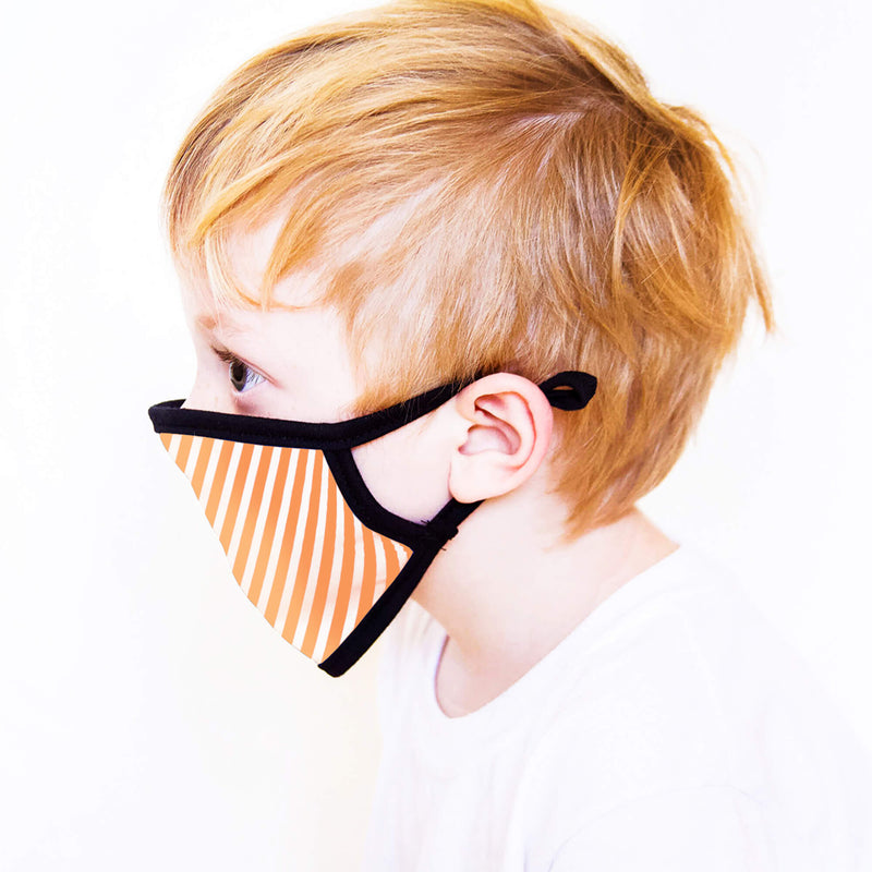 Kids Face Mask in Orange & White Chevron