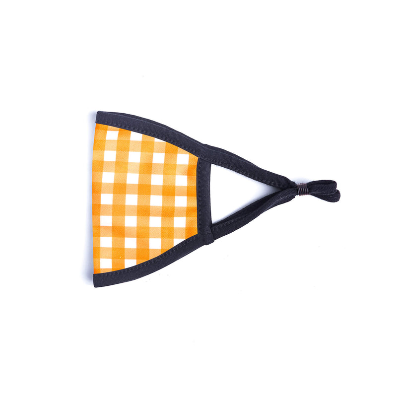 Kids Face Mask in Orange & White Gingham