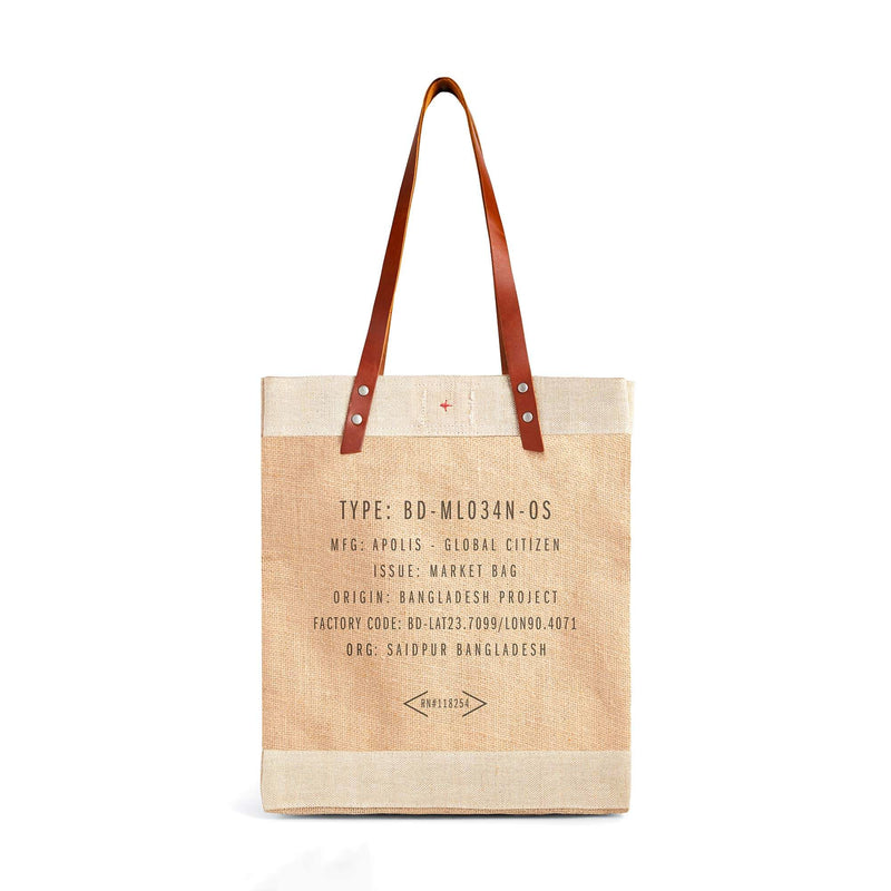 Market Tote in Natural with Calligraphy