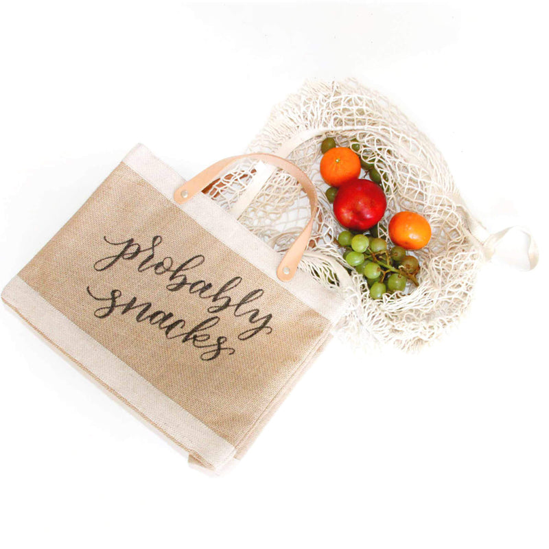 Petite Market Bag in Natural with Calligraphy