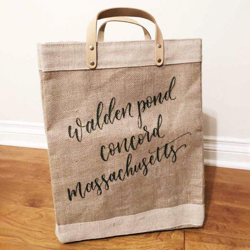 Market Bag in Natural with Calligraphy