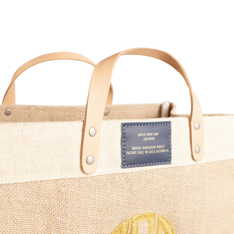 Market Bag in Natural with Gold Embroidered Monogram & Navy Patch