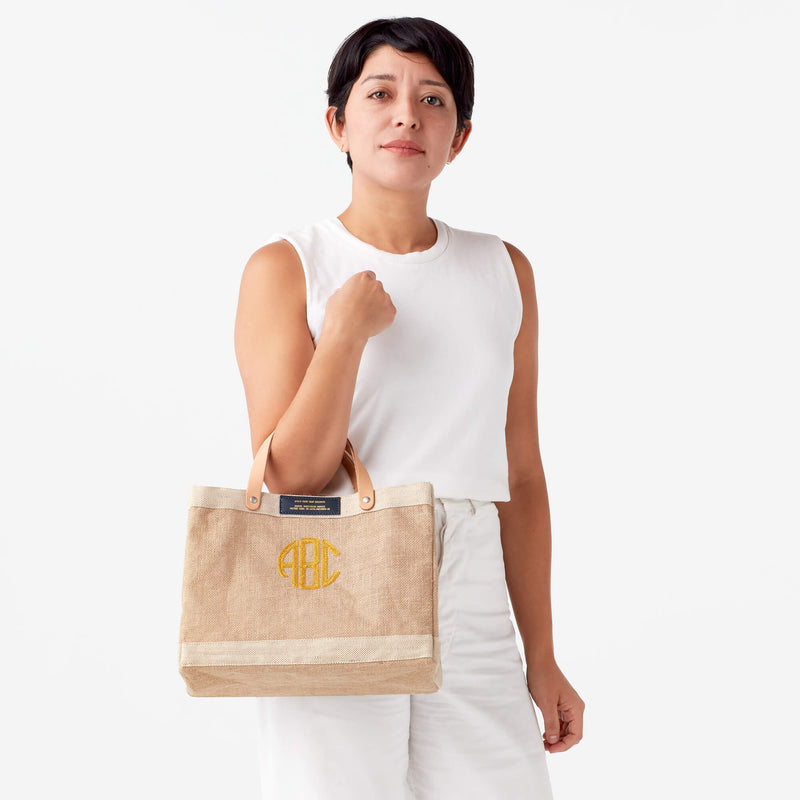 Petite Market Bag in Natural with Gold Embroidered Monogram & Navy Patch