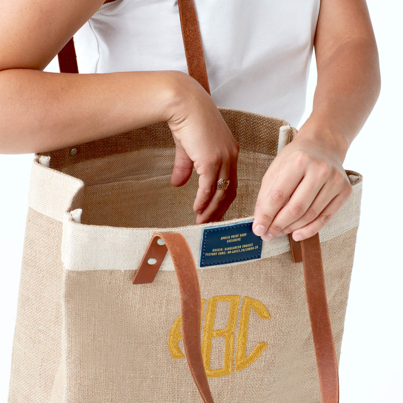 Market Tote in Natural with Gold Embroidered Monogram & Navy Patch