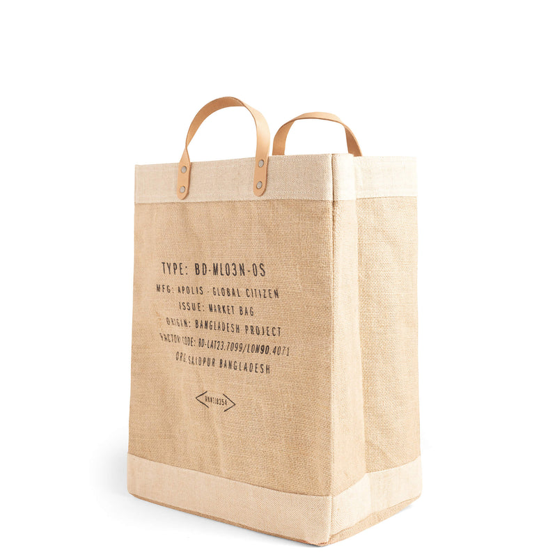 Market Bag in Natural with Love Note