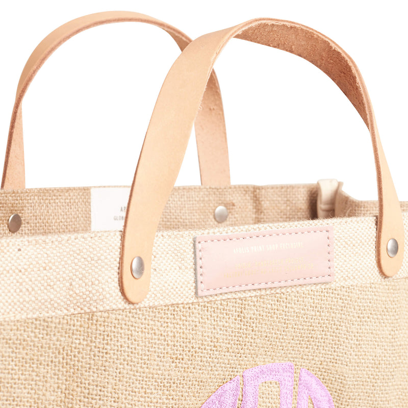 Petite Market Bag in Natural with Pink Embroidered Monogram and Pink Patch