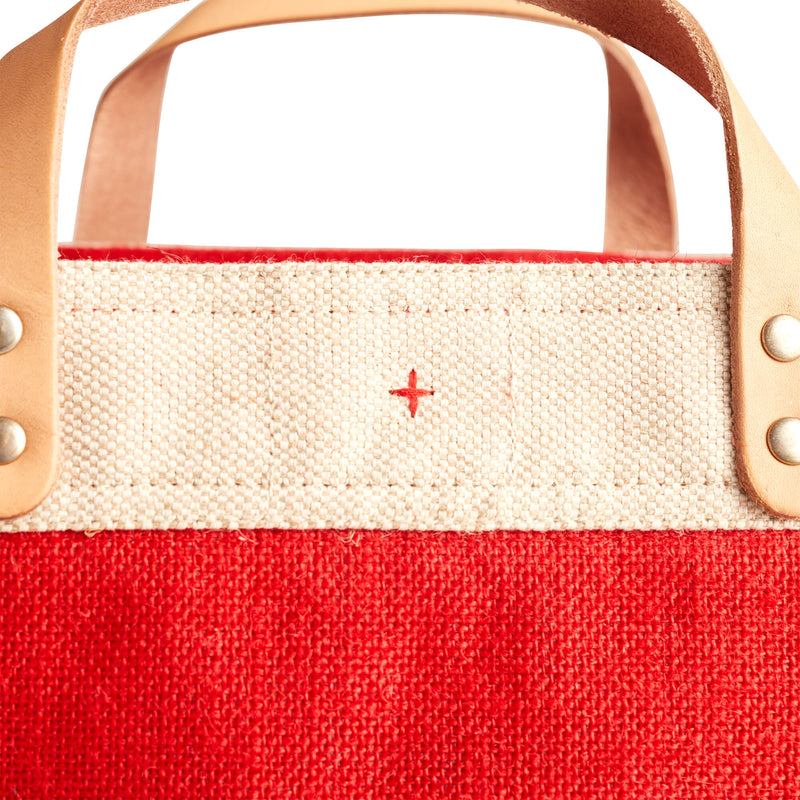 Petite Market Bag in Red with Embroidery