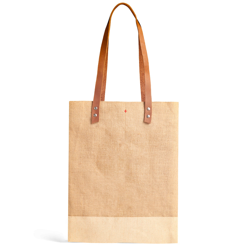 Wine Tote in Natural with Black Monogram