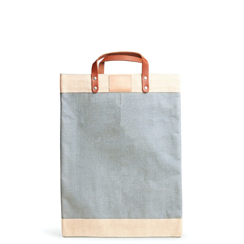 Market Bag in Cool Gray with White Monogram