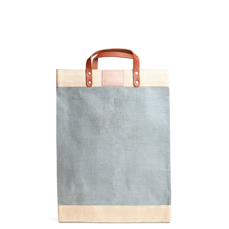 Market Bag in Cool Gray with Pink Monogram