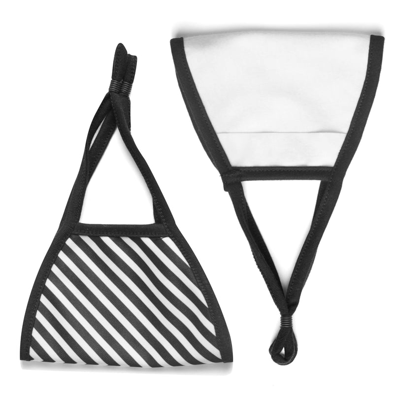 Adult Face Mask in Black & White Chevron