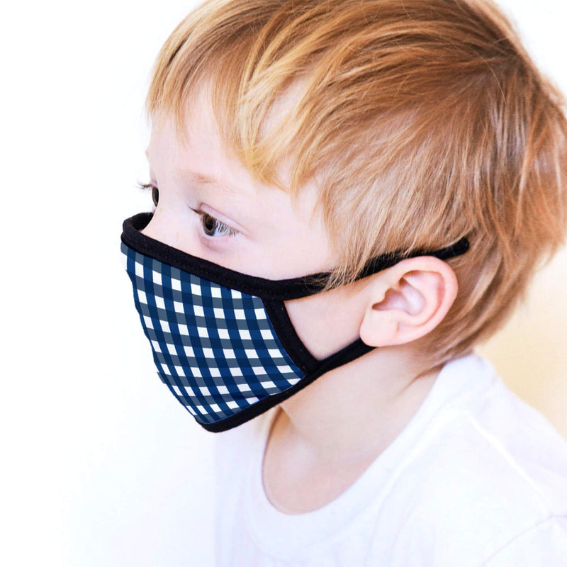 Kids Face Mask in Blue Gingham