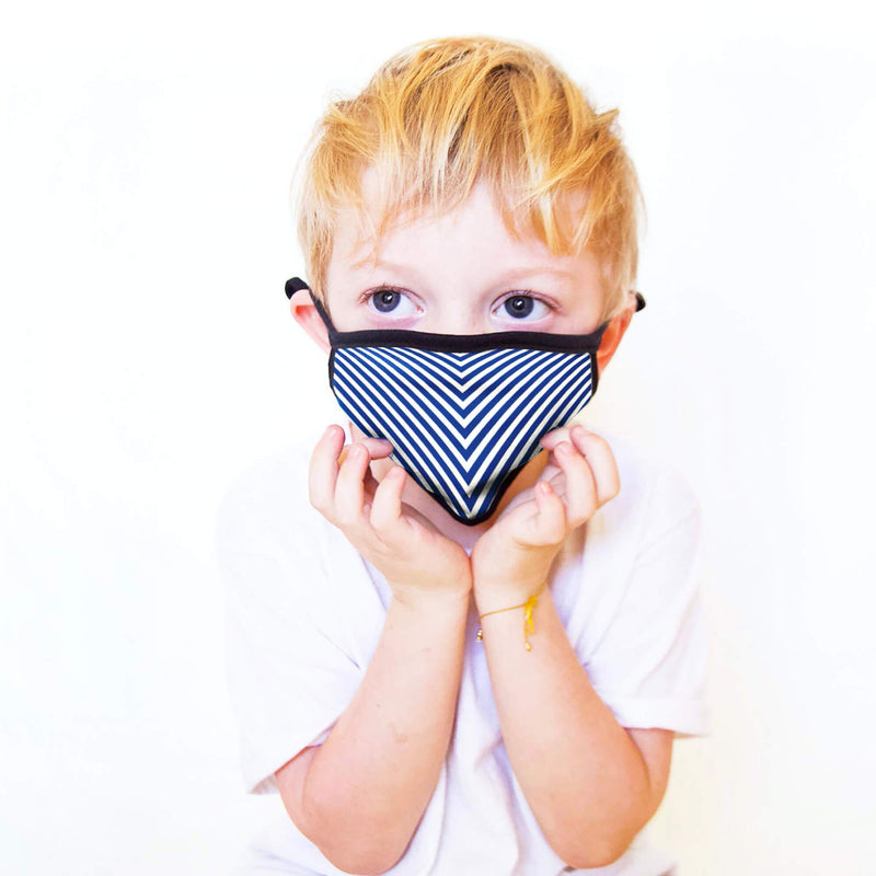 Kids Face Mask in Blue Chevron