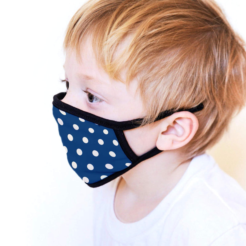 Kids Face Mask in Blue Polka