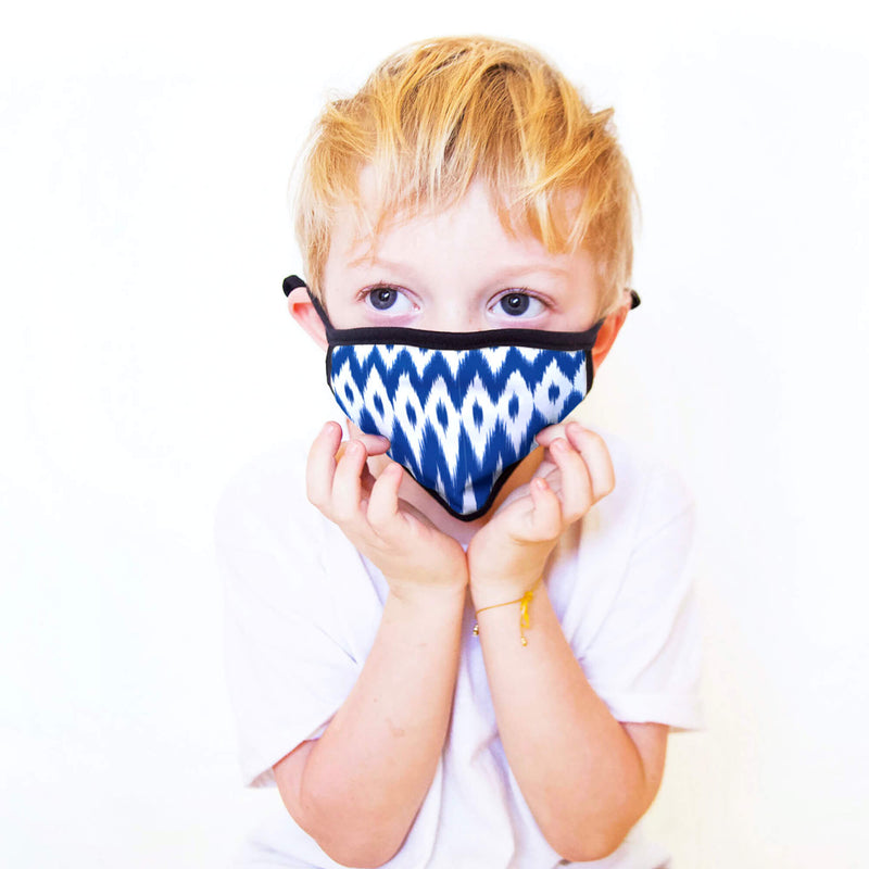 Kids Face Mask in Blue Ikat