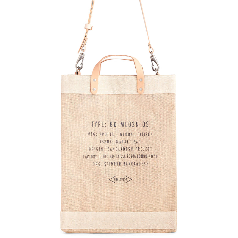 Market Bag in Natural with Strap