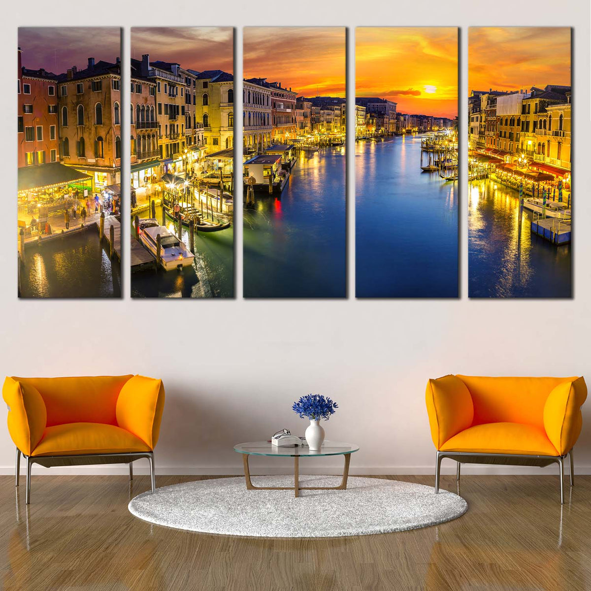 Colourful Venice Sunset Italy CANVAS WALL ART Picture Print