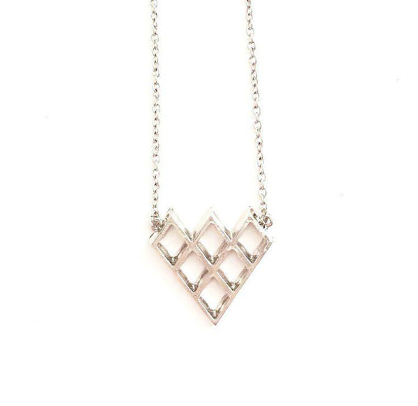 Silver Cut out Pyramid necklace - wish.list boutique