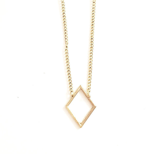 Gold diamond shape necklace - wish.list boutique